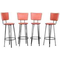 Set of Four Upholstered Iron Barstools