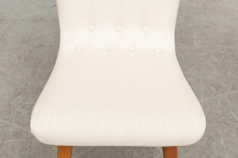 Upholstery Set of Four Van Os Dining Chairs in White For Sale