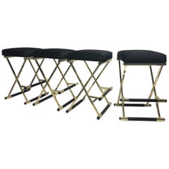 Set of Four Velvet and Brass Finish Bar Stools
