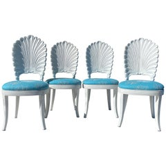 Set of Four Venetian Grotto Style Shell Back Chairs