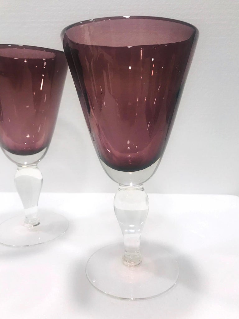 Set of Four Venetian Murano Glass Goblets in Purple Amethyst, Italy, circa 1990 For Sale 4