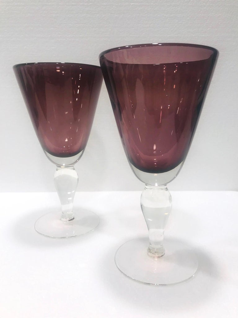 Hand-Crafted Set of Four Venetian Murano Glass Goblets in Purple Amethyst, Italy, circa 1990 For Sale