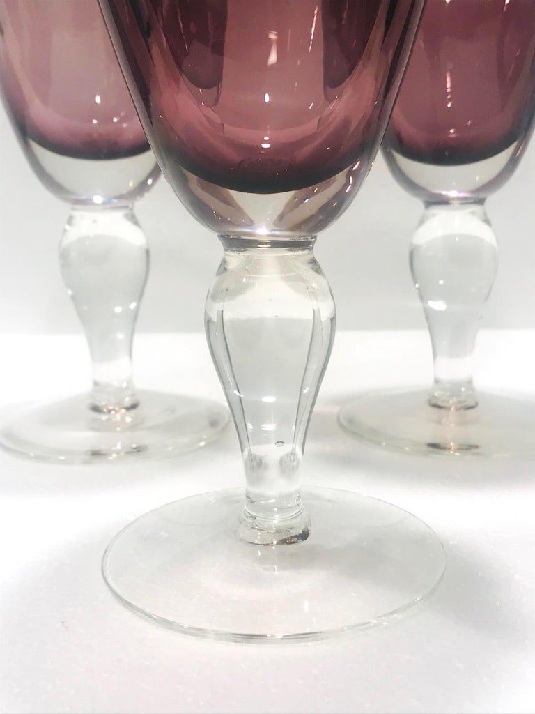 Late 20th Century Set of Four Venetian Murano Glass Goblets in Purple Amethyst, Italy, circa 1990 For Sale
