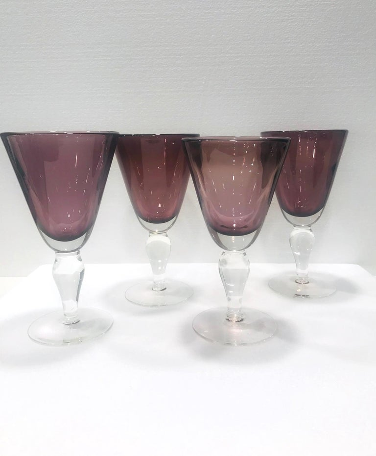 Set of Four Venetian Murano Glass Goblets in Purple Amethyst, Italy, circa 1990 For Sale 2
