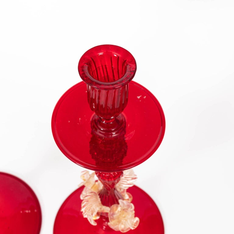 Set of Four Venetian Ruby Glass Candle Sticks 11