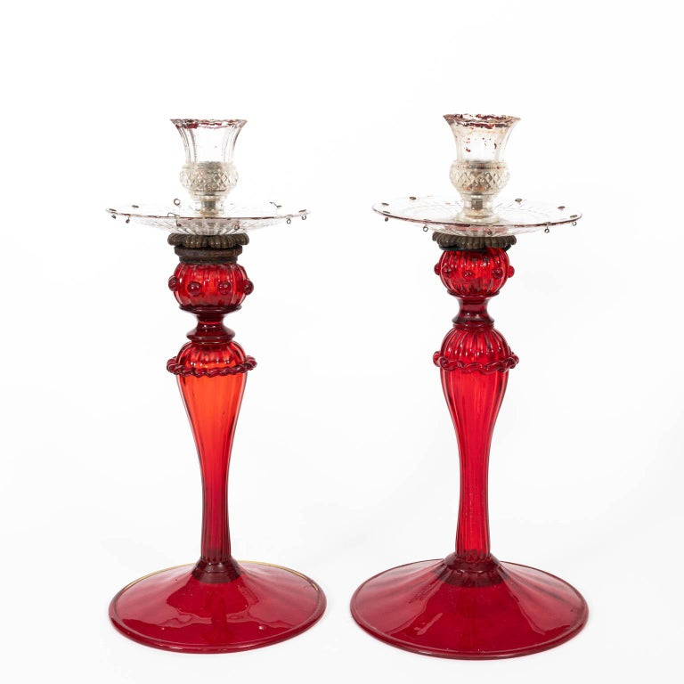 Set of Four Venetian Ruby Glass Candle Sticks In Good Condition In Stamford, CT