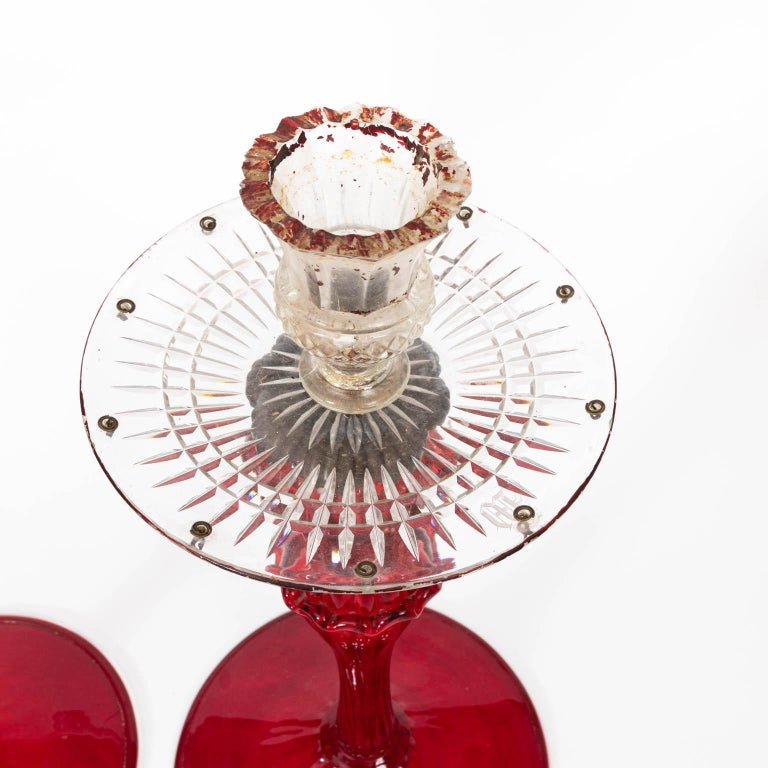 Late 19th Century Set of Four Venetian Ruby Glass Candle Sticks