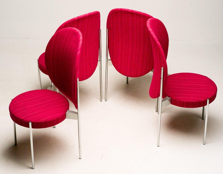 Wool Set of Four Verner Panton High Back Dining Chairs for Thonet For Sale