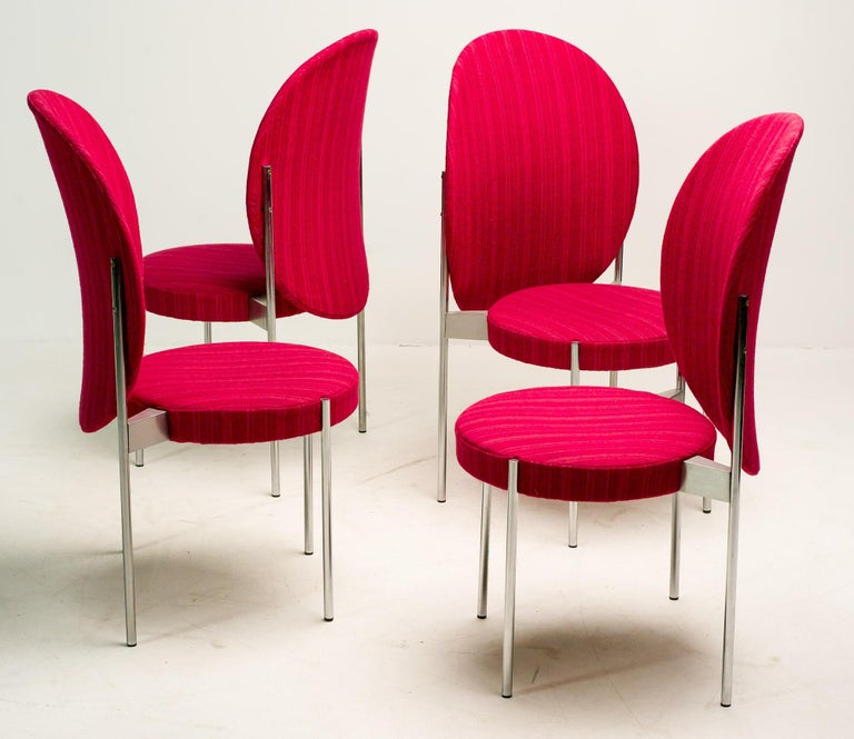 Set of Four Verner Panton High Back Dining Chairs for Thonet For Sale 1