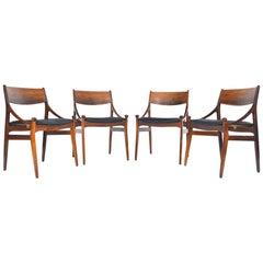 Set of Four Verstervig Eriksen Rosewood Armchairs, Danish Modern Midcentury