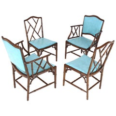 Set of Four Very Fine Faux Bamboo Mahogany Dining Side Chairs