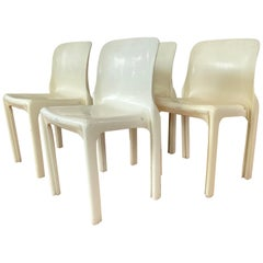 Set of Four Vico Magistretti for Artemide Early White Selene Chairs, 1968
