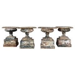 Set of Four Victorian 19th Century Cast Iron Urns on Pedestals