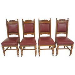 Set of Four Victorian Carved Padded Back Oak Dining Chairs, Scotland 1910, B2044