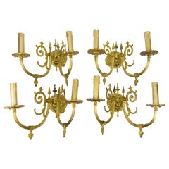 Set of Four Victorian Style Bronze Two-Arm Wall Sconces