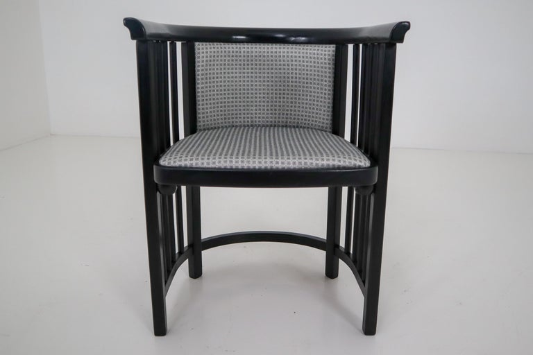 Set of Four restored Vienna Secession armchairs in black bentwood with grey fabric upholstery designed by Josef Hoffmann.  Josef Hoffmann (Austria, 1870–1956) The Austrian architect Josef Hoffmann was a central figure in the evolution of modern
