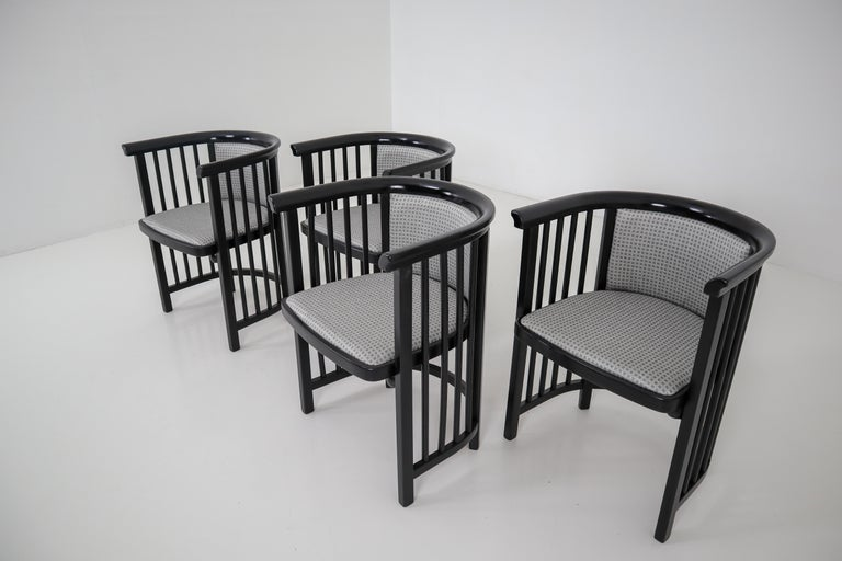 20th Century Set of Four Vienna Secession Armchairs in Bentwood Designed by Josef Hoffman For Sale
