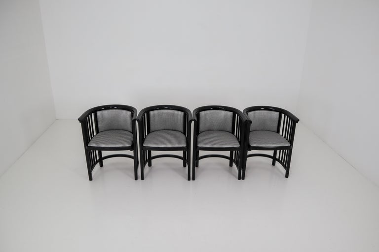 Fabric Set of Four Vienna Secession Armchairs in Bentwood Designed by Josef Hoffman For Sale