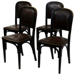 Set of Four Vienna Secession Side Chairs by Gustav Siegel, J. & J. Kohn in 1914