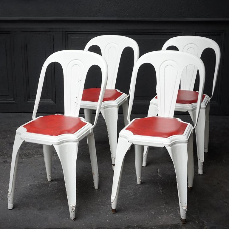 Set of Four Vintage 1950s Belgian Fibrocit Industrial Stackable Terrace Chairs In Good Condition For Sale In Haarlem, NL