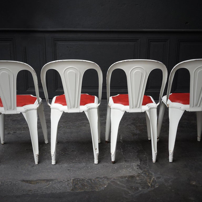 Set of Four Vintage 1950s Belgian Fibrocit Industrial Stackable Terrace Chairs For Sale 3