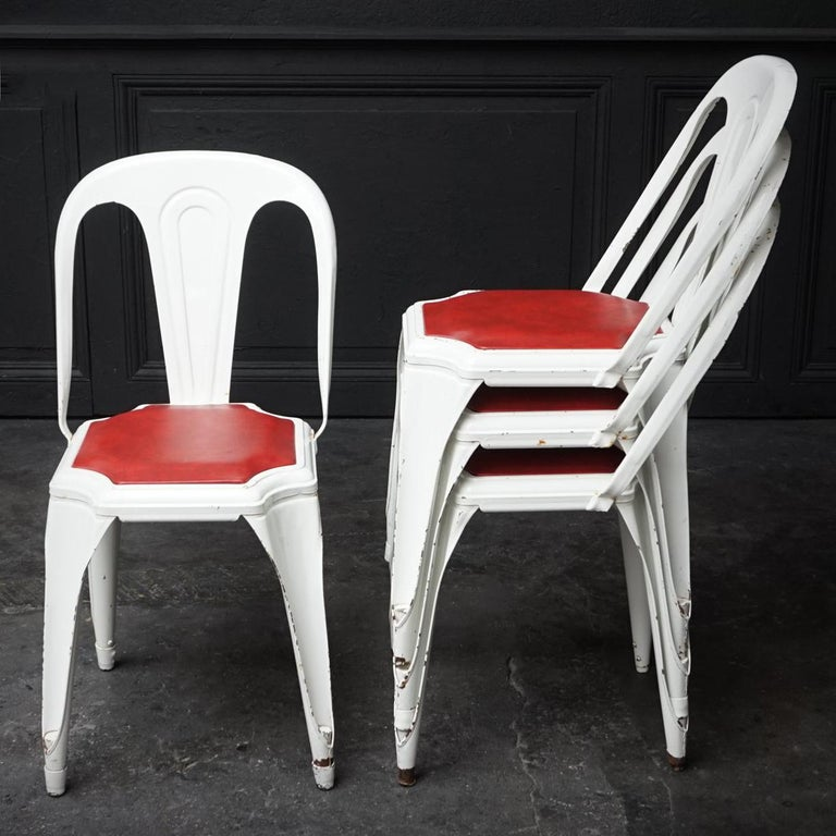 Set of Four Vintage 1950s Belgian Fibrocit Industrial Stackable Terrace Chairs For Sale 4