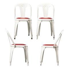 Set of Four Vintage 1950s Belgian Fibrocit Industrial Stackable Terrace Chairs