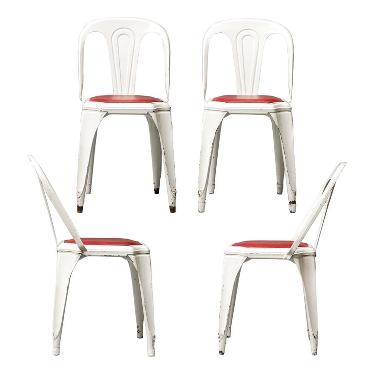 Set of Four Vintage 1950s Belgian Fibrocit Industrial Stackable Terrace Chairs For Sale