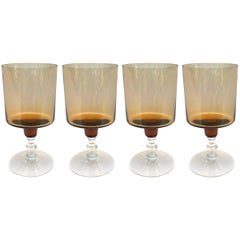 Set of Four Vintage Amber Wine Glasses