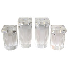 Set of Four Vintage Architectural Lucite Candleholders, 1970s