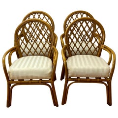 Set of Four Vintage Bamboo Framed Chairs