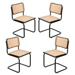 Set of Four Vintage Bauhaus-Style Cane and Steel Side Chairs