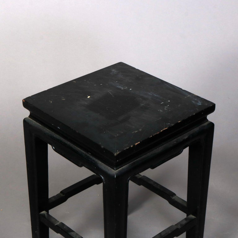 Set of Four Vintage Black Lacquered Chinese Side Stands, 20th Century For Sale 6