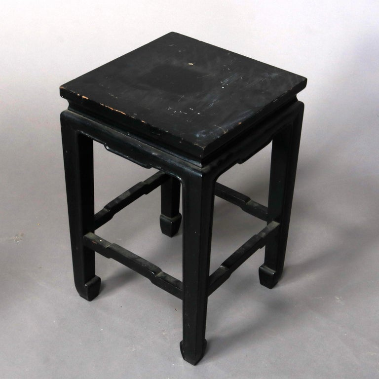 Set of Four Vintage Black Lacquered Chinese Side Stands, 20th Century For Sale 7