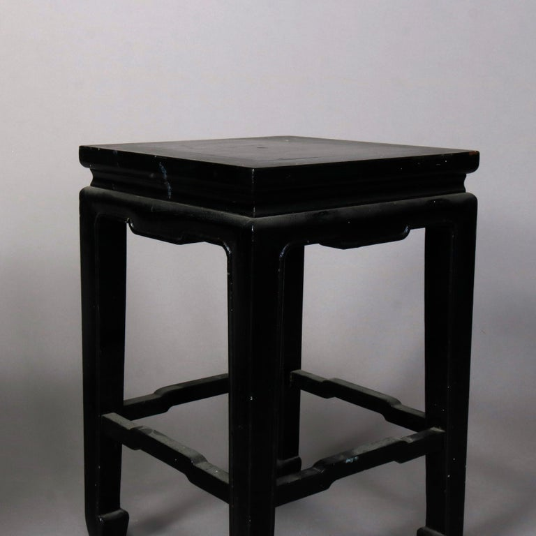 Set of Four Vintage Black Lacquered Chinese Side Stands, 20th Century For Sale 8