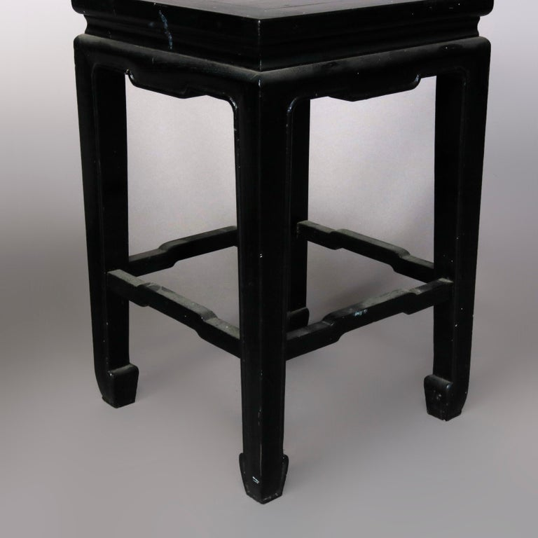 Set of Four Vintage Black Lacquered Chinese Side Stands, 20th Century For Sale 9