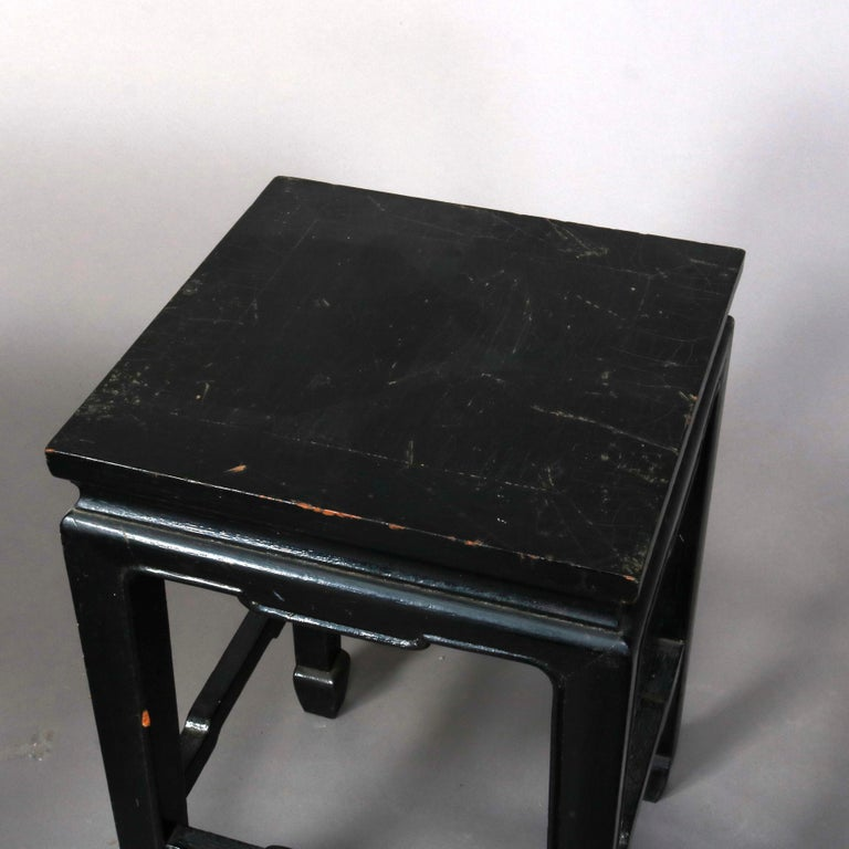 Set of Four Vintage Black Lacquered Chinese Side Stands, 20th Century For Sale 10
