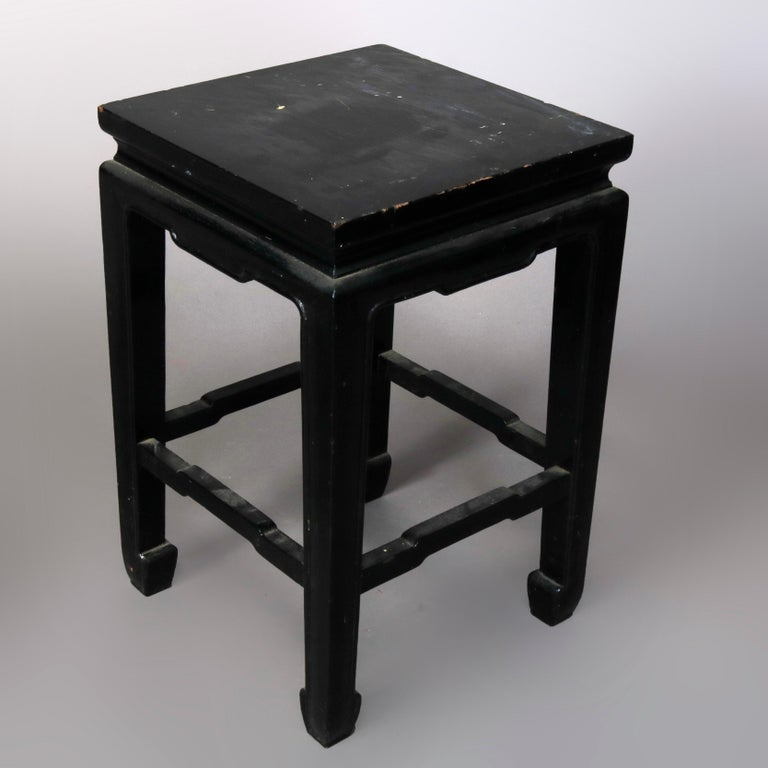 Wood Set of Four Vintage Black Lacquered Chinese Side Stands, 20th Century For Sale