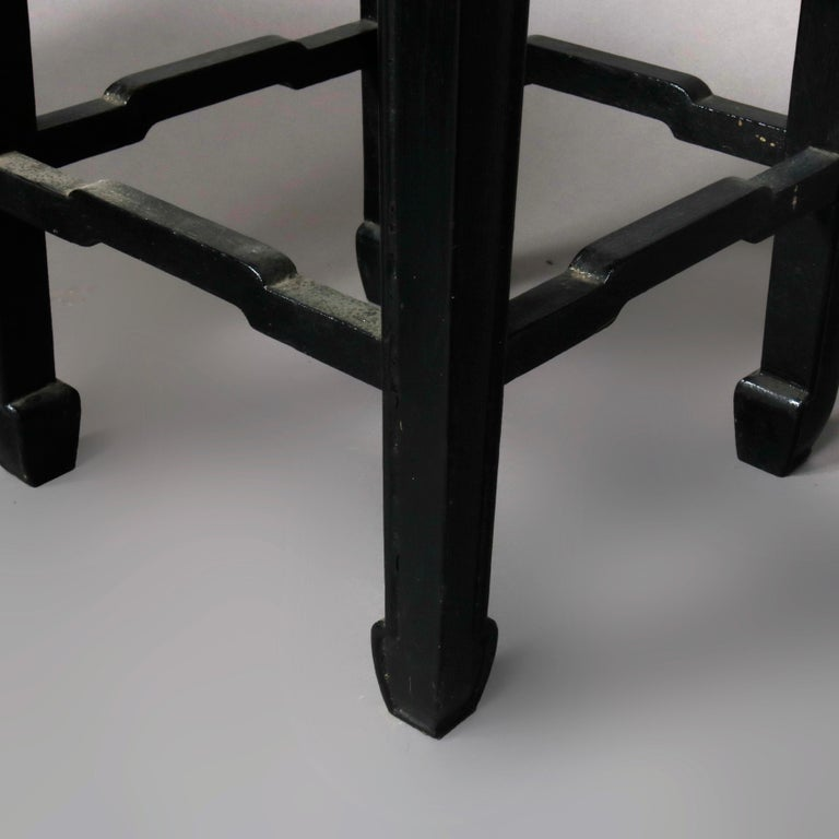 Set of Four Vintage Black Lacquered Chinese Side Stands, 20th Century For Sale 4