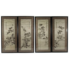 Set of Four Vintage Chinese Embroidered Silk Panels of the Four Seasons