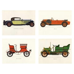 Set of Four Vintage Classic Cars Framed Color Lithographs Pictures, 1964