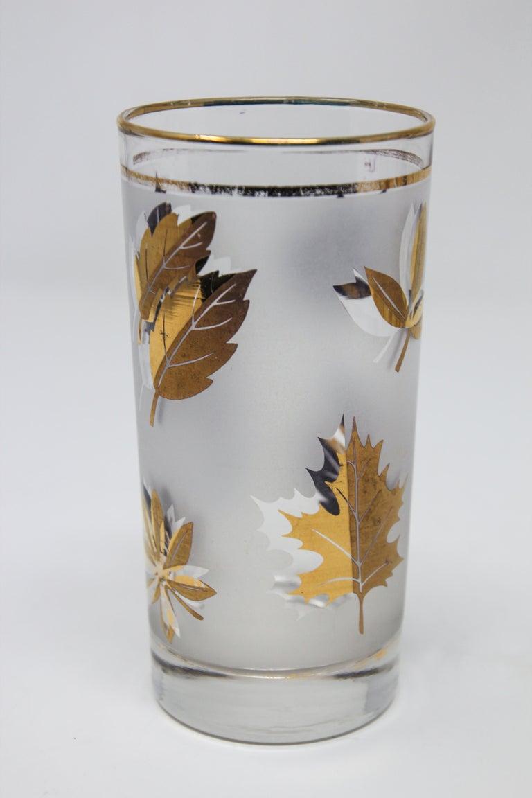 Set of Four Vintage Cocktail Glasses by Libbey with Gold Leaf Design For Sale 3