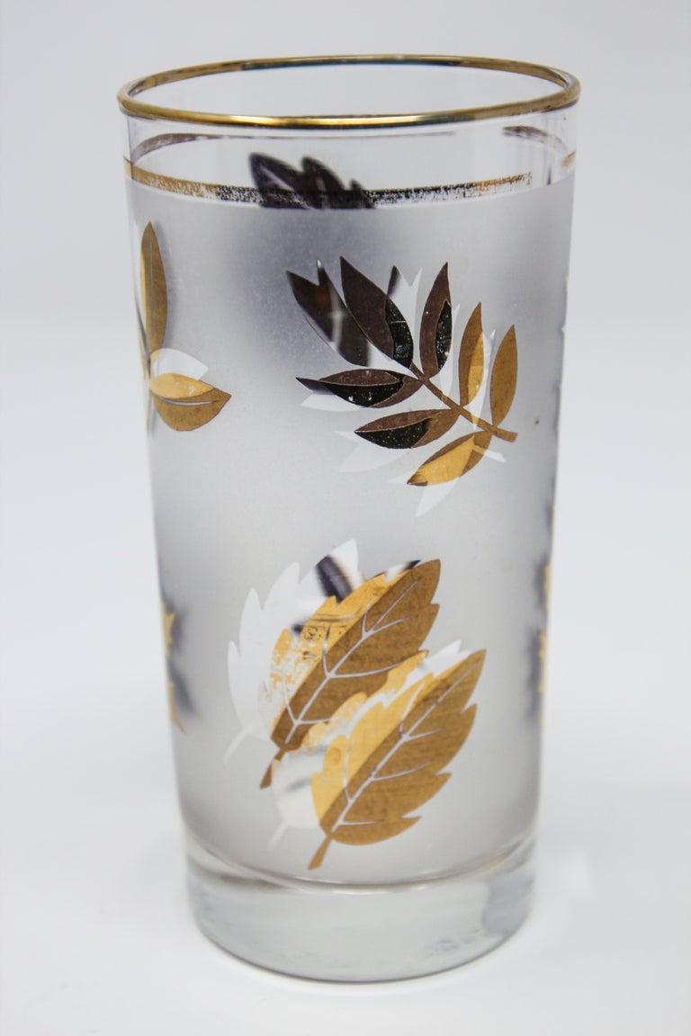 Set of Four Vintage Cocktail Glasses by Libbey with Gold Leaf Design For Sale 5