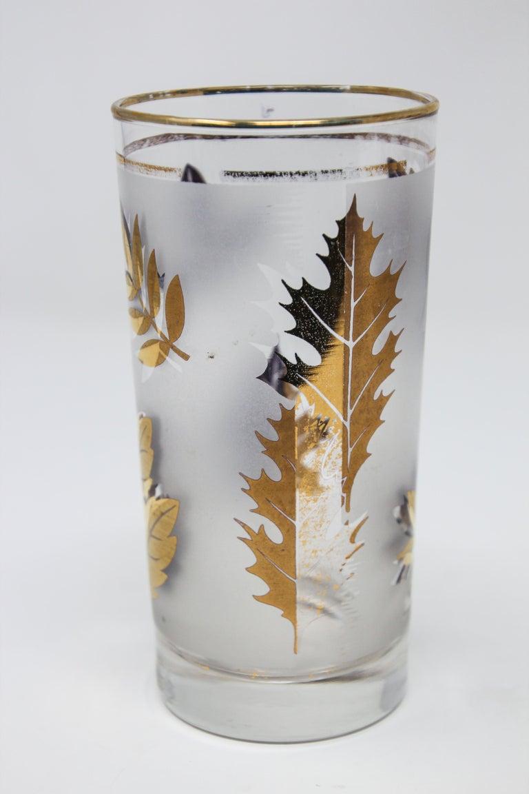 Set of Four Vintage Cocktail Glasses by Libbey with Gold Leaf Design For Sale 1