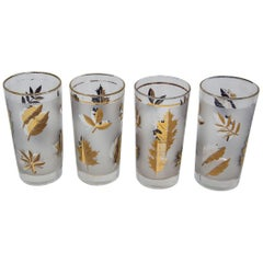 Set of Four Vintage Cocktail Glasses by Libbey with Gold Leaf Design
