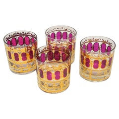 Set of Four Vintage Culver Glasses with 22-Karat Gold and Red Moorish Design