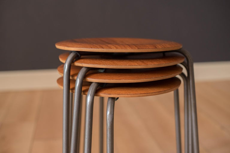 Set of Four Vintage Danish Teak Round Stacking Stools In Good Condition For Sale In San Jose, CA