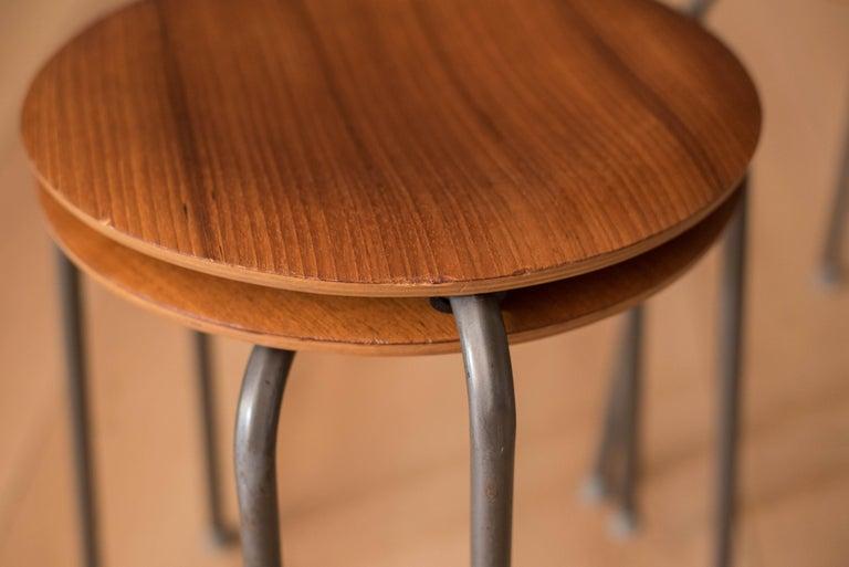 Set of Four Vintage Danish Teak Round Stacking Stools For Sale 2