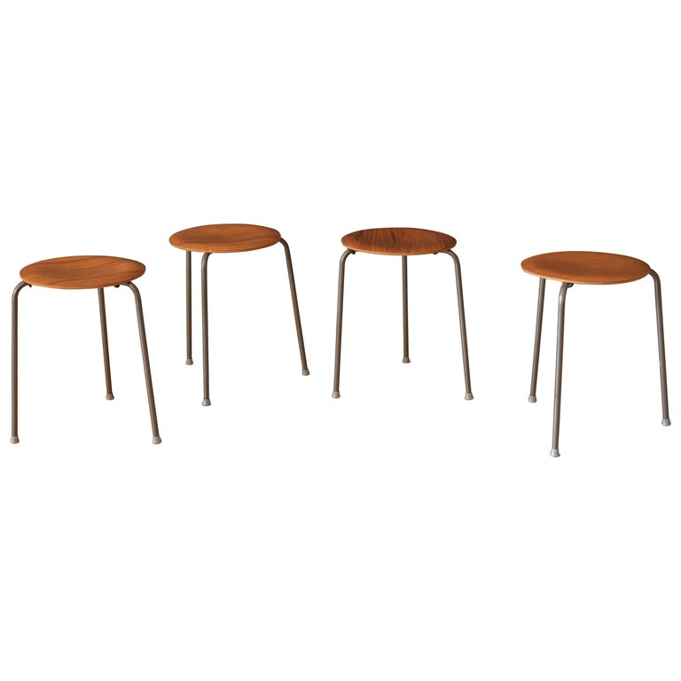 Set of Four Vintage Danish Teak Round Stacking Stools For Sale