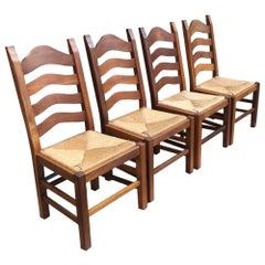 Set of Four Vintage Dutch Dining Oak Chairs with Straw Seats